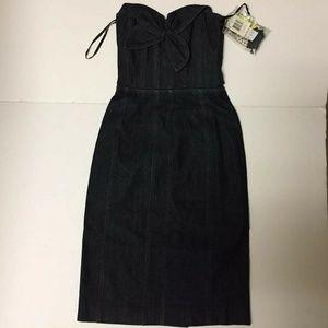 Betsey Johnson  Dark Blue Denim Strapless Dress
